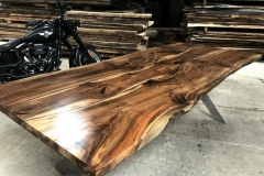 english walnut table top w/ epoxy encapsulation & resin corner